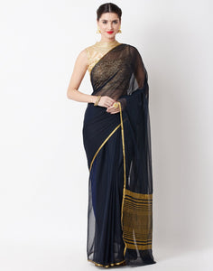Black Art Chiffon Saree