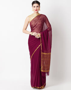 Wine Art Chiffon Saree
