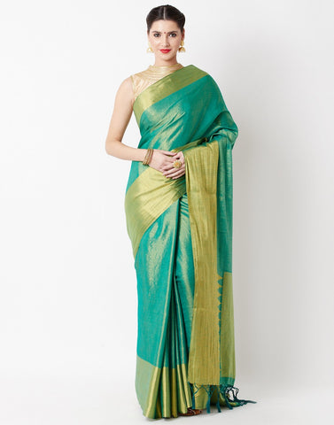 Green Art Handloom Saree