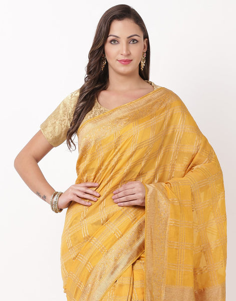 Mustard Cotton Woven Saree