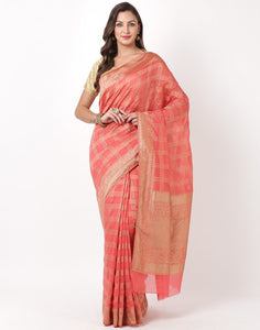 Pink Cotton Woven Saree