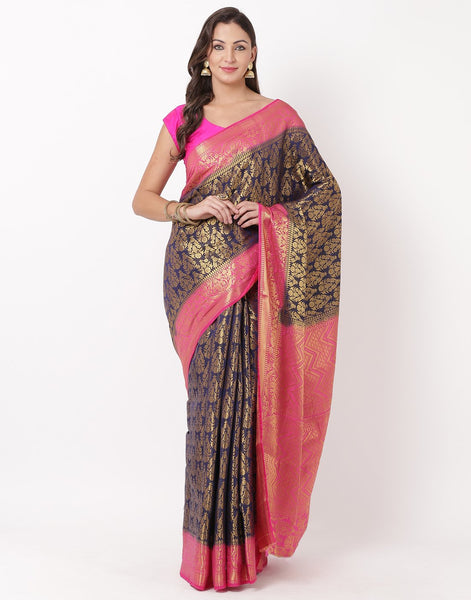 Navy Blue Rani Art Handloom Saree