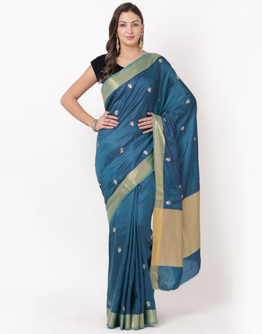 MBZ Meena Bazaar-Peacock Blue Art Handloom Saree