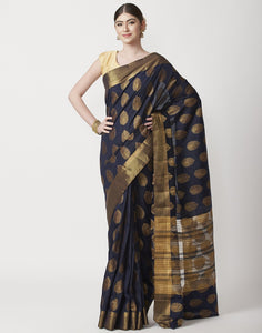 MBZ Meena Bazaar-Navy Blue Art Handloom Woven Saree