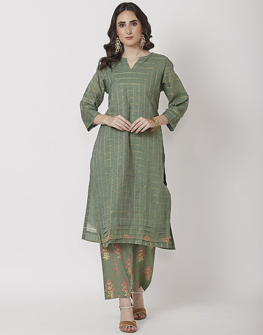 Green Cotton Chanderi Kurti with Palazzo