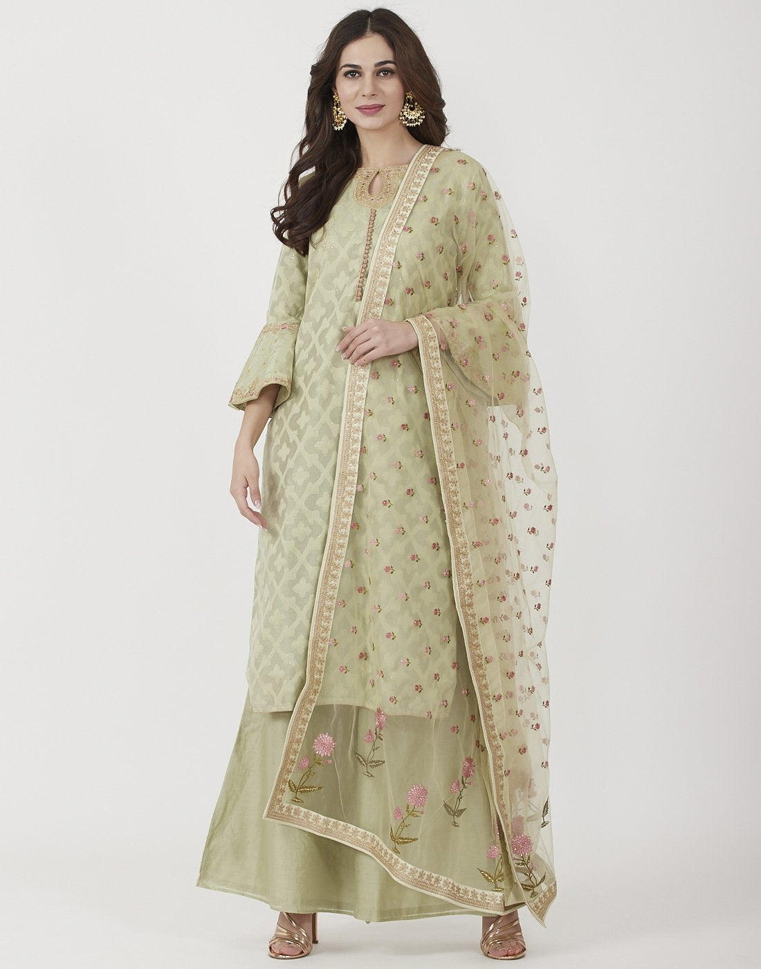 Dull Green Cotton Chanderi Salwar Kameez