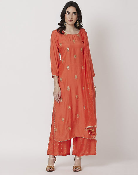 Orange Cotton Chanderi Salwar Kameez