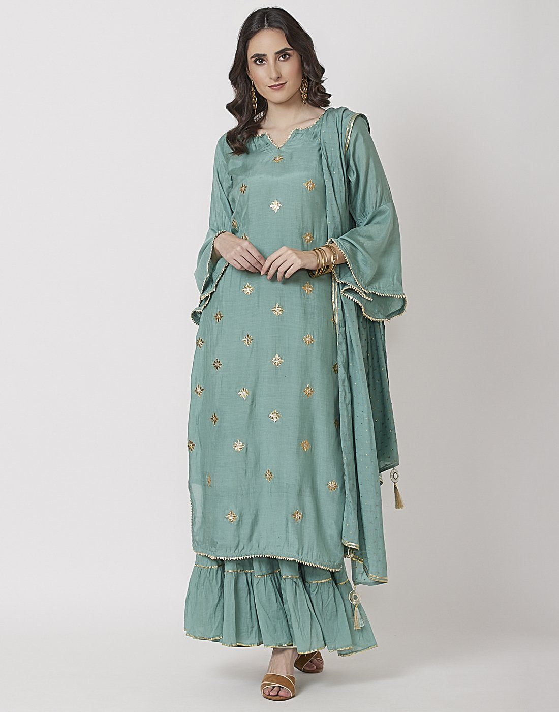 Sea Green Cotton Chanderi Salwar Kameez