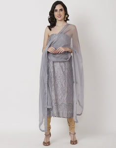 MBZ Meena Bazaar-Grey Cotton Chanderi Suit Set