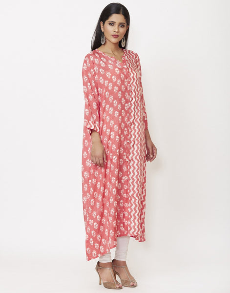 Peach Pink Cotton Kurti