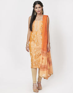 Peach Rust Cotton Chanderi Suit Set