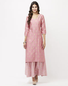 Dusty Pink Cotton Chanderi Kurti with Palazzo