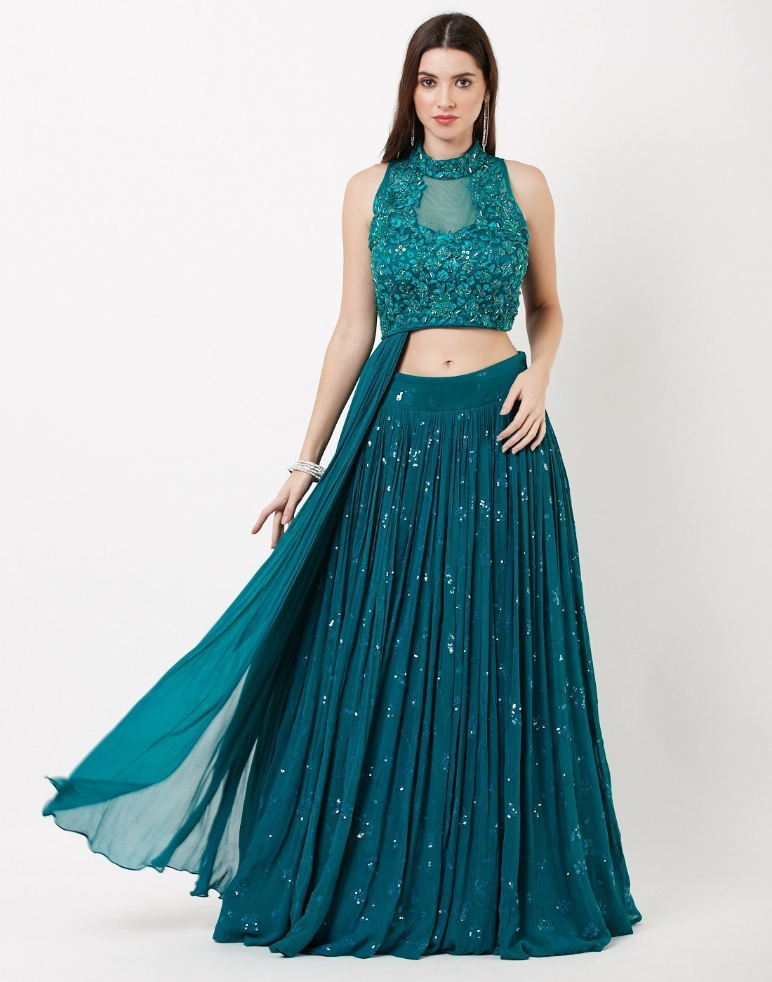 MBZ Meena Bazaar-Lake Blue Georgette Lehenga with Attached Dupatta
