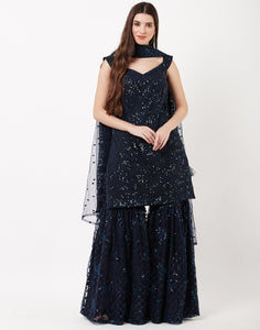 MBZ Meena Bazaar-Navy Blue Net Sharara Set