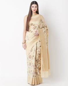 Beige Cotton Linen Saree