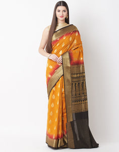 Mustard Brown Cotton Woven Saree
