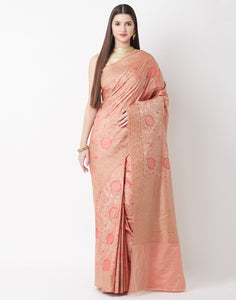 Peach Banarasi Saree