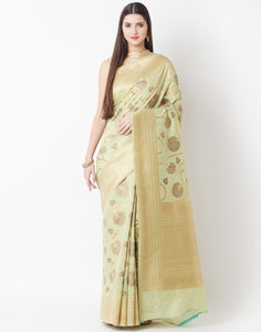 Pista Green Cotton Linen Saree