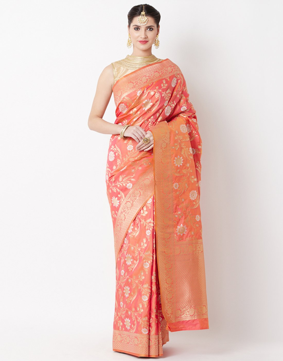 Orange Rani Banarasi Saree