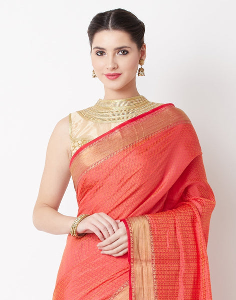 MBZ Meena Bazaar-Red Art Handloom Saree