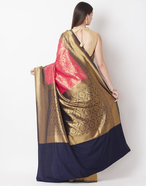 Rani Navy Art Handloom Saree