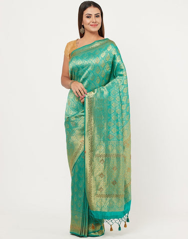 MBZ Meena Bazaar-Art Handloom Embroidery Saree