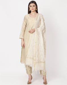 Beige Cotton Tissue Salwar Kameez