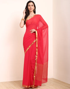 Hot Pink Art Chiffon Saree