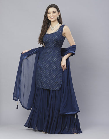 Navy Blue and Rani Handloom Dupion Salwar Kameez