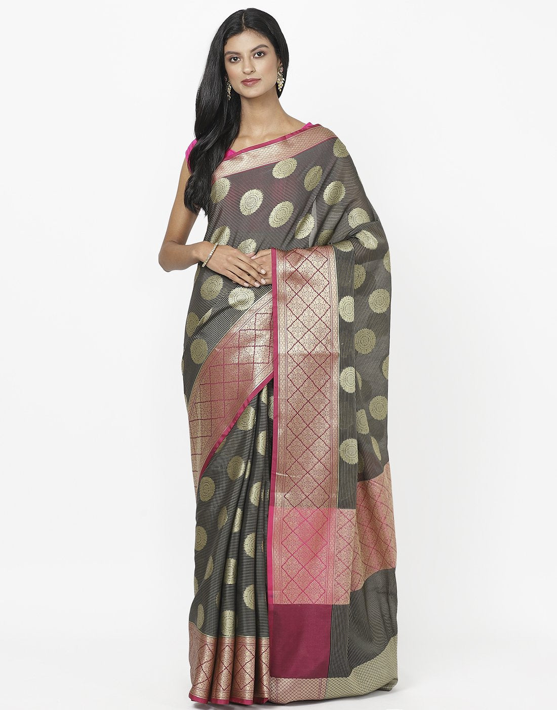 MBZ Meena Bazaar-Black Cotton Woven Saree
