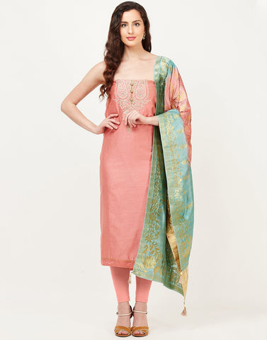 Peach Pink Chanderi Suit Set