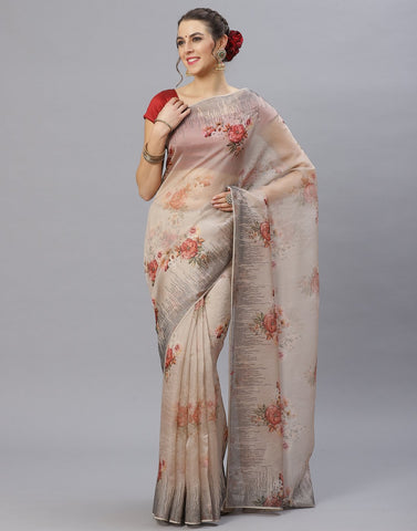 Grey Floral Printed Kora Saree