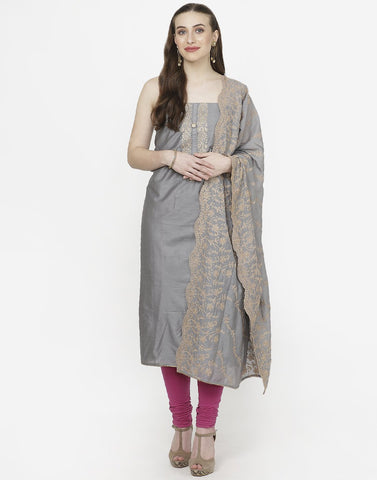 Grey Chanderi Suit Set
