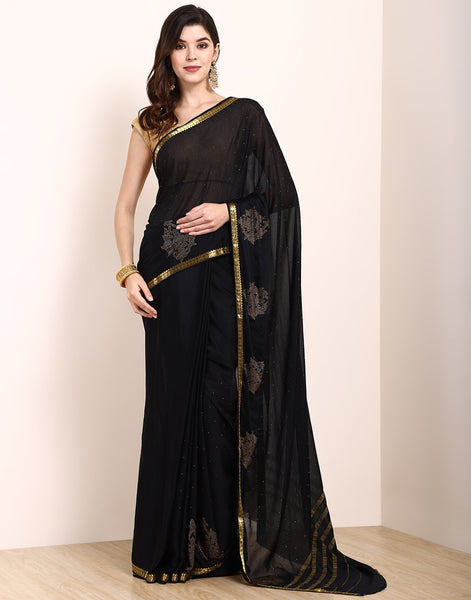 Black Art Crepe Saree