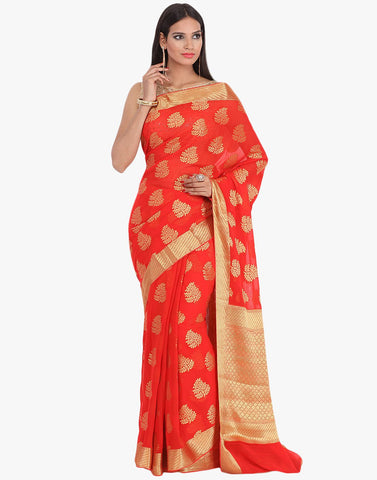 Georgette Woven Saree With All-over Floral Zari Bootis By Meena Bazaar