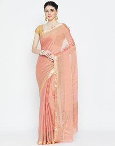 Peach Georgette Tissue Saree
