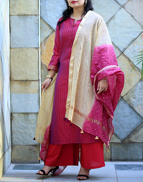 Magenta Cotton Chanderi Salwar Kameez