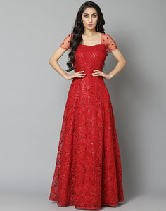 Elegant Red Net Long Dress