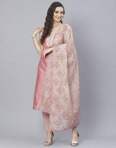 Chanderi Embroidered Suit Set