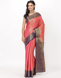 Hot Pink Art Handloom Saree