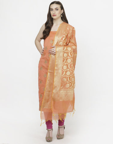 Peach Beige Chanderi Suit Set