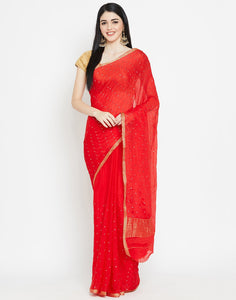 Red Art Chiffon Saree