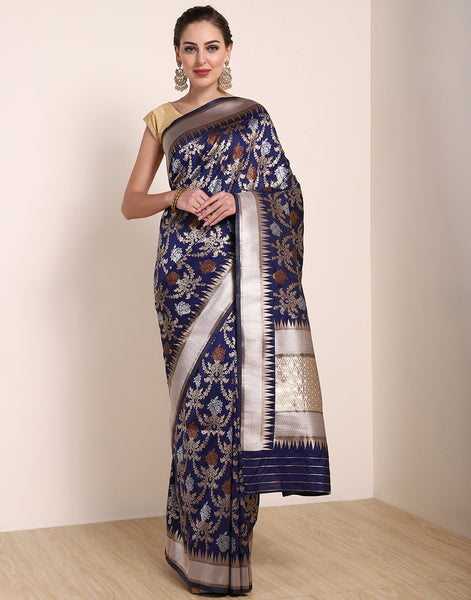 Navy Blue Banarasi Art Handloom Saree
