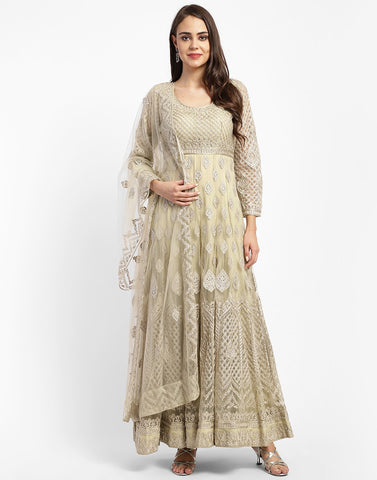 MBZ Meena Bazaar-Beautiful Cream Net Salwar Kameez Stitched Anarkali Suit
