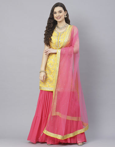 Mustard and Tomato Red Handloom Dupion Salwar Kameez