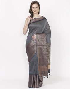 MBZ Meena Bazaar-Navy Blue Printed Cotton Chanderi Saree