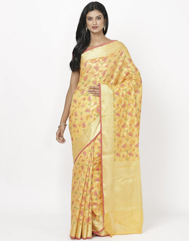 MBZ Meena Bazaar-Orange Cotton Woven Saree