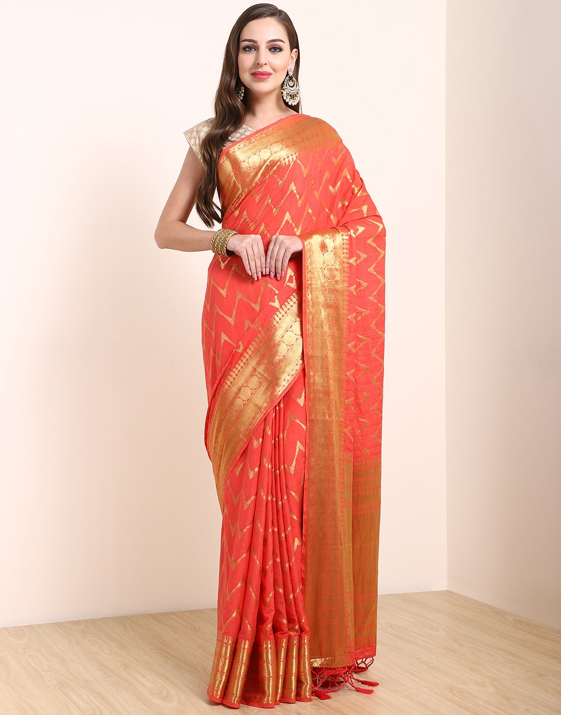 Peach Art Handloom Saree