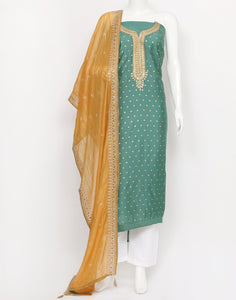 Green Cotton Chanderi Suit Set