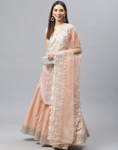 Pink Cotton Chanderi Lehenga